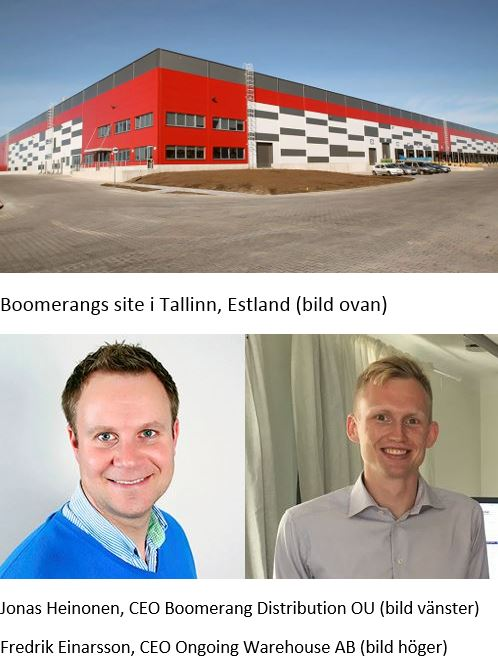 Jonas Heinonen, CEO Boomerang Distribution OU & Fredrik Einarsson, CEO Ongoing Warehouse AB